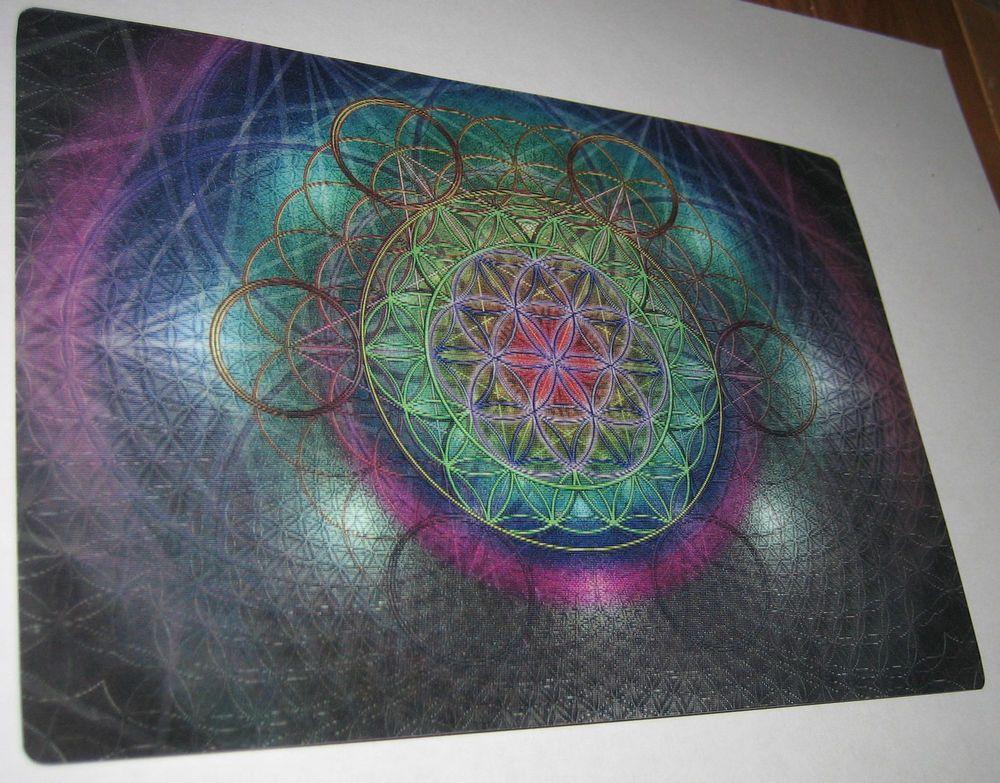 "7"" x 5"" FLOWER OF LIFE SACRED GEOMETRY HOLOGRAM RAINBOW COLOR LASER ART PRINT"