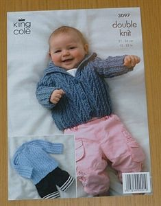 King Cole Baby Double Knitting DK Pattern Striped Cardigans Knitted Flowers 3607
