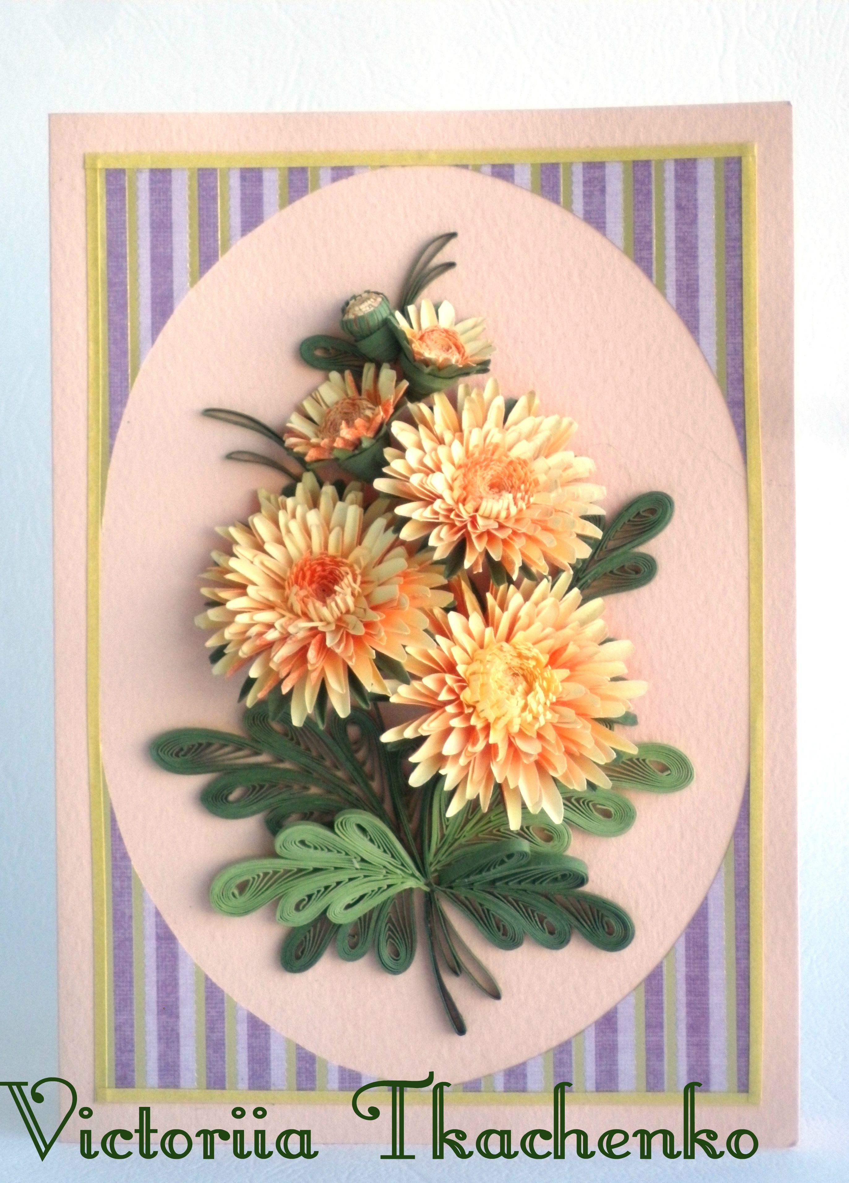 Открытка хризантема своими руками, картинка