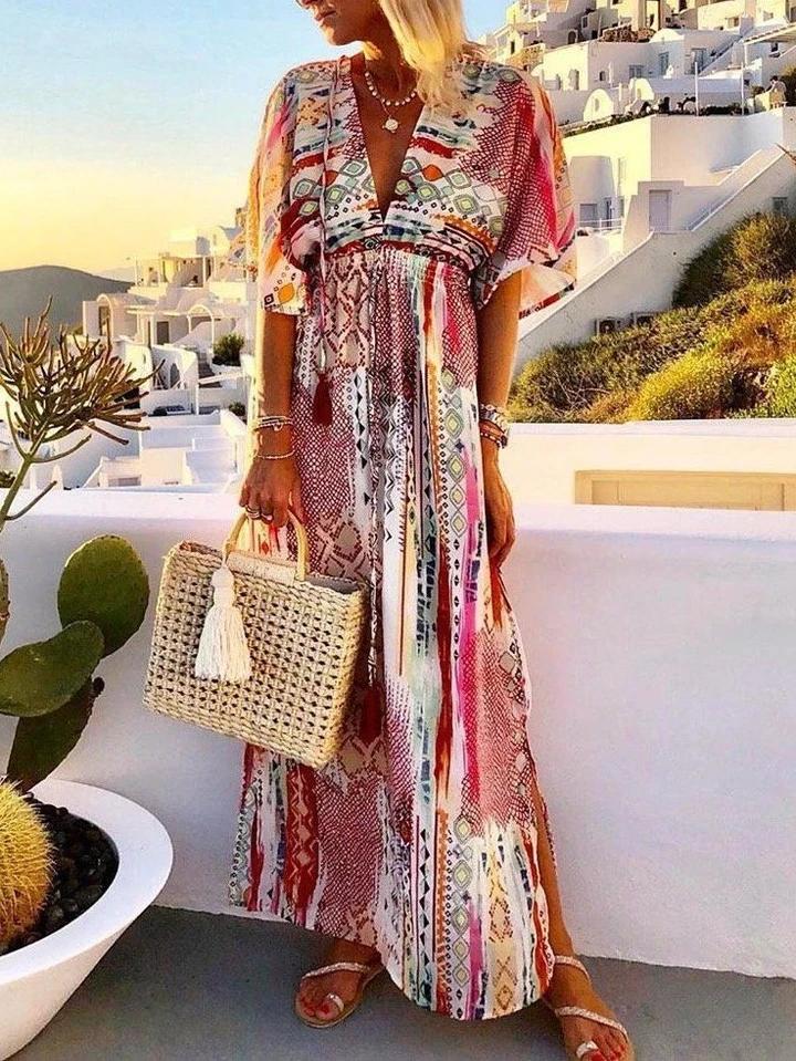Chiffon Print V-Neck Vacation Maxi Dress 7