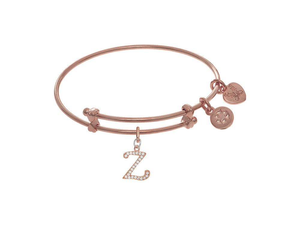 Brass With Pink Finish Charm Initial Z On Pink Angelica Tween Bangle