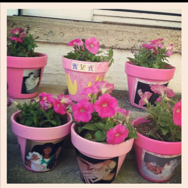 Photo flower pots for grandmas on mothers day paint w for Can you paint candles with acrylic paint