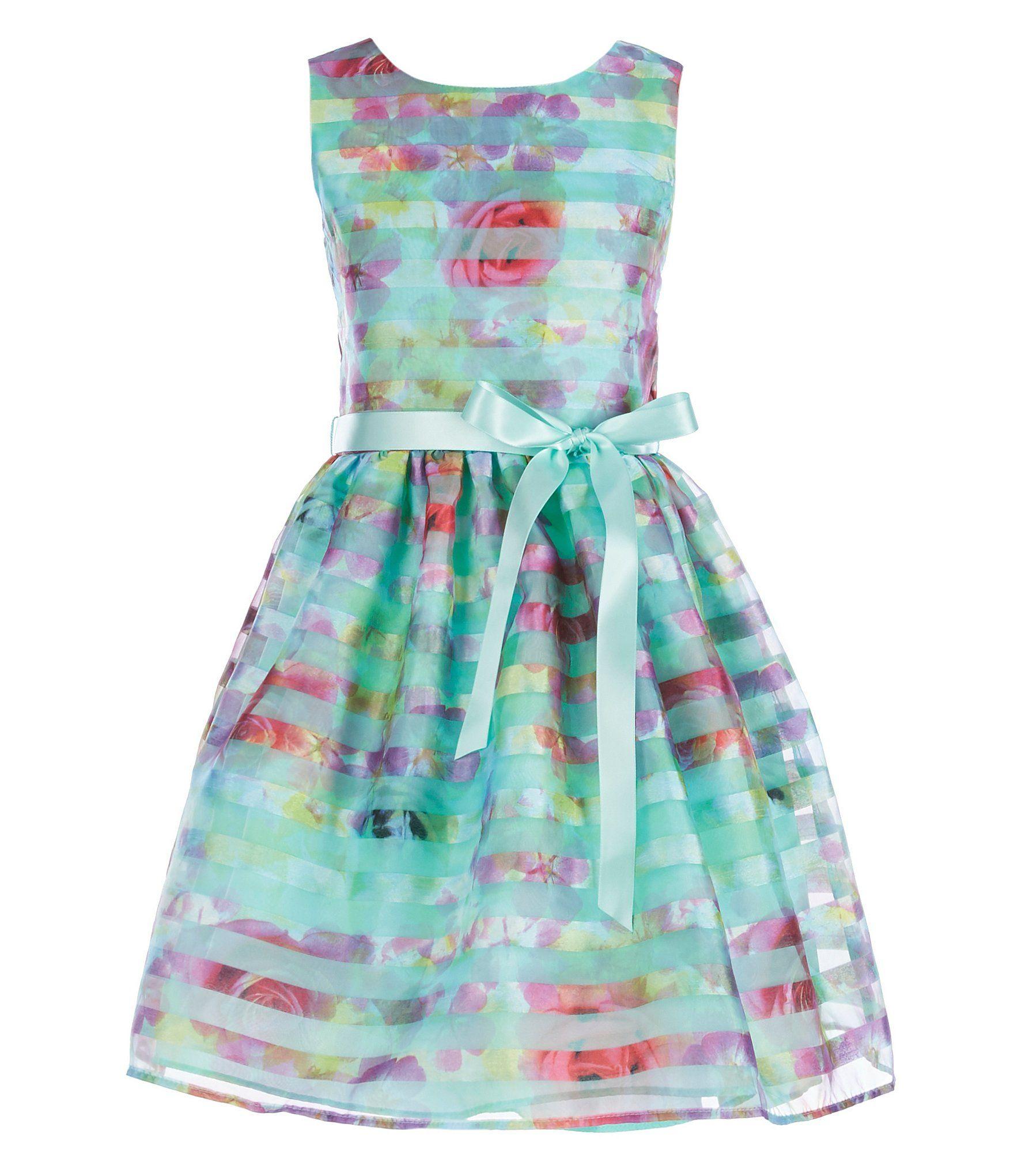 Lavender by us angels big girls shadow stripe organza dress
