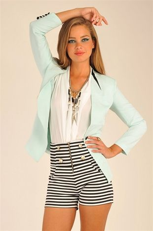 Lucca Leather Trimmed Blazer - Mint  loving the whole outfit.