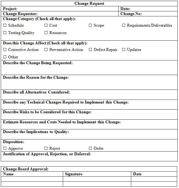 Change Request Form  Cr    Change Proposal Templates