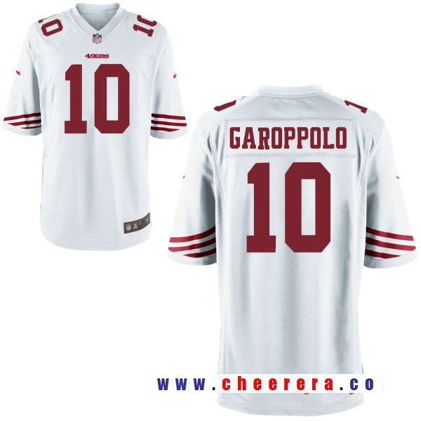 922faad1d62 Men s San Francisco 49ers  10 Jimmy Garoppolo White Road Stitched NFL Nike  Elite Jersey