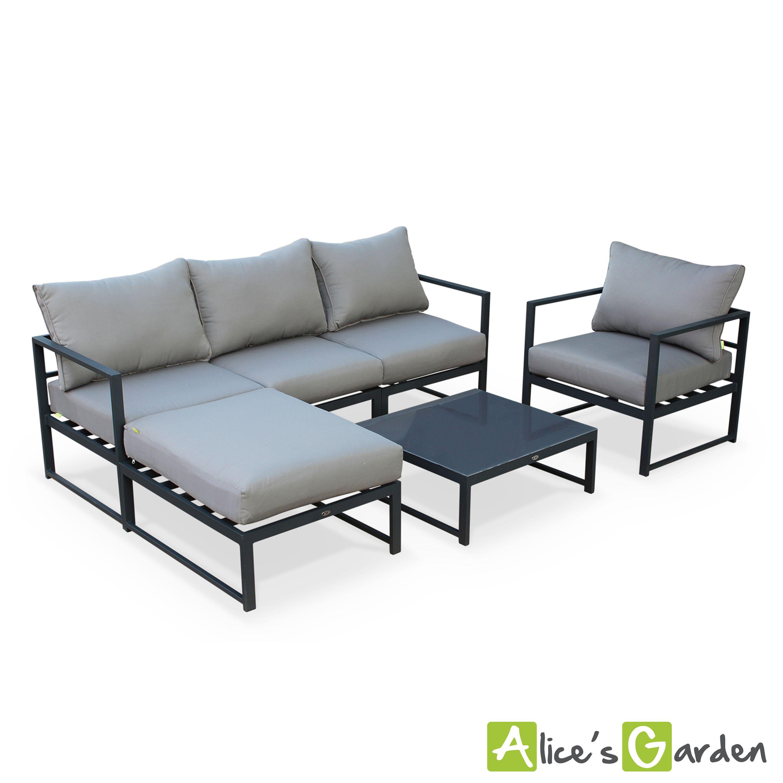 Acatium : salon de jardin 5 places, structure toute alu. Moderne ...