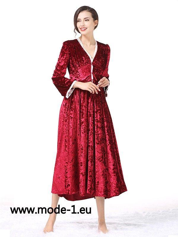 Damen Samt Kleid Midi in Rot (com imagens) | Vermelho