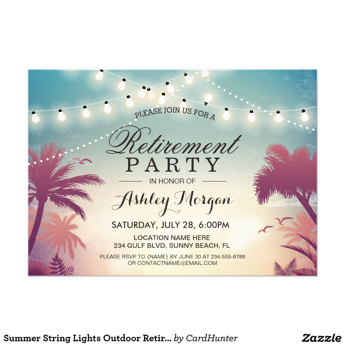 Summer String Lights Outdoor Retirement Party Card | { You\'re ...