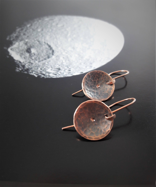 Moon Crater Earrings Lunar Earrings Moon Earrings Textured Copper Earrings Copper Dangle Earrings Hammered Copper Disk Dangle Earrings