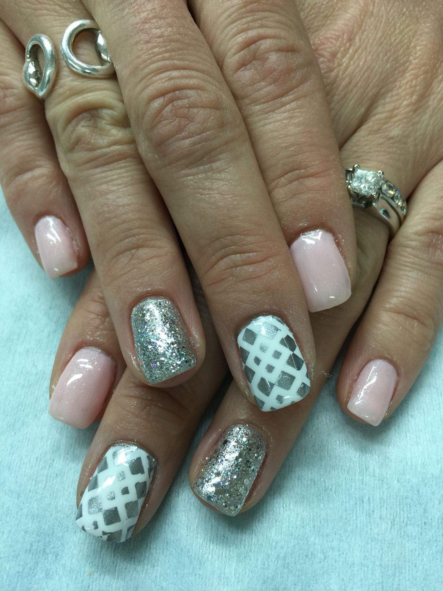Pale pink, silver glitter stamped gel nails   Gel Nail designs ...