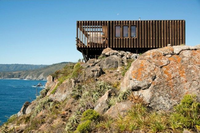 modernes ferienhaus chile felsen holz fassade | holz ist genial, Hause und garten