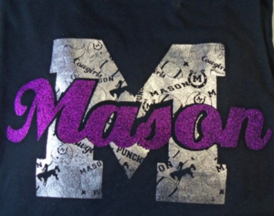 Mason M t-shirt with Foil background and Glitter Mason on Black t-shirt