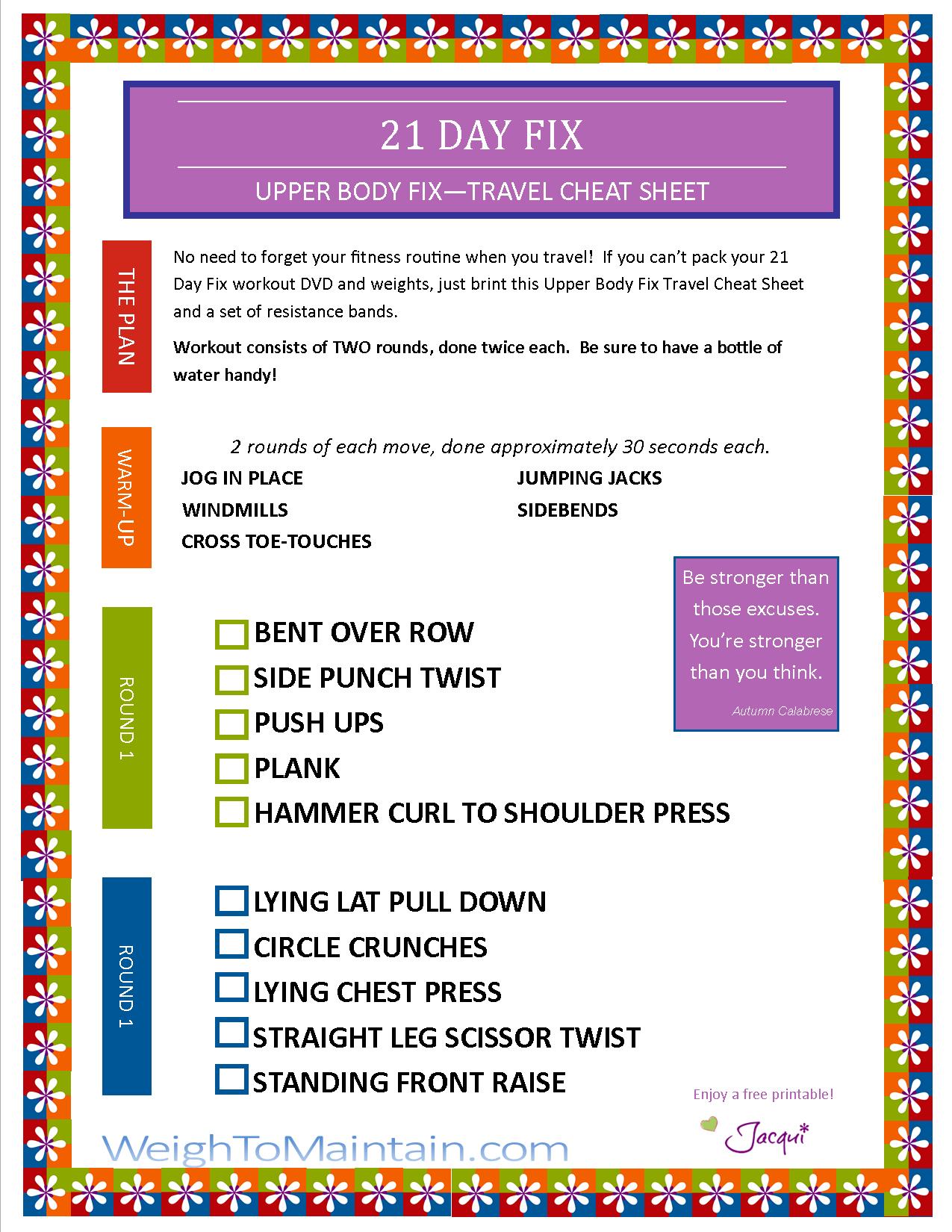 21 Day Fix Upper Body Fix Workout Pdf Travel Cheat Sheet Plan A Healthy Life 21 Day Fix Workouts 21 Day Fix Diet Beachbody 21 Day Fix