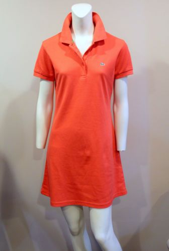 693f719d3ba8 Womens-LACOSTE-Orange-Short-Sleeve-Pique-Polo-Dress-Sz-40-US-M-145 ...