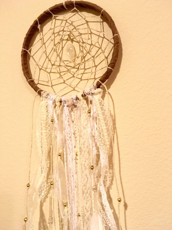 White lace Boho dream catcher with quartz crystal, Nursery dream ...