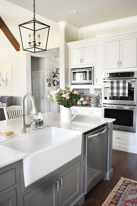 Kitchen Farmhouse Sink Farmhouse kitchen farmhouse sink and faucet grey island with farmhouse kitchen farmhouse sink and faucet grey island with farmhouse sink and faucet farmhousesink kitchenfaucet beautiful homes of instagram workwithnaturefo