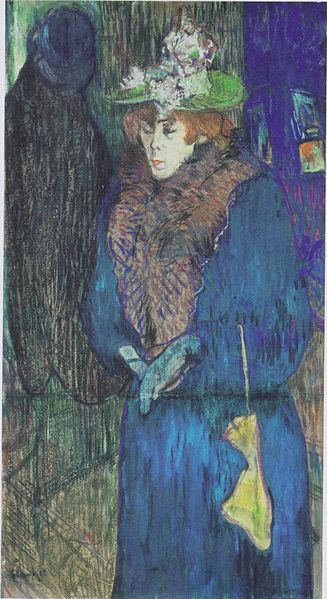 Jane Avril enters the Moulin Rouge, Toulouse-Lautrec, 1892
