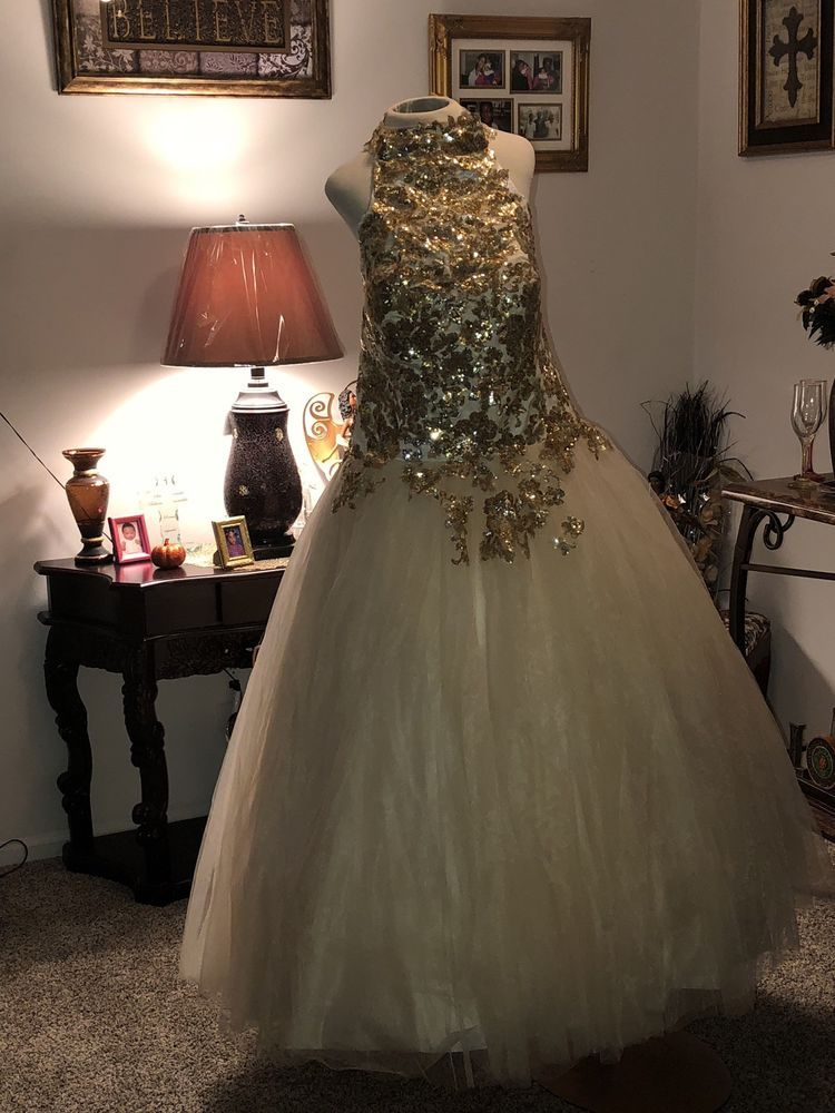 030935accc16a2 Light Gold High Neck Tulie Sequin Ball Gown worn only once Petticoat  included.  fashion