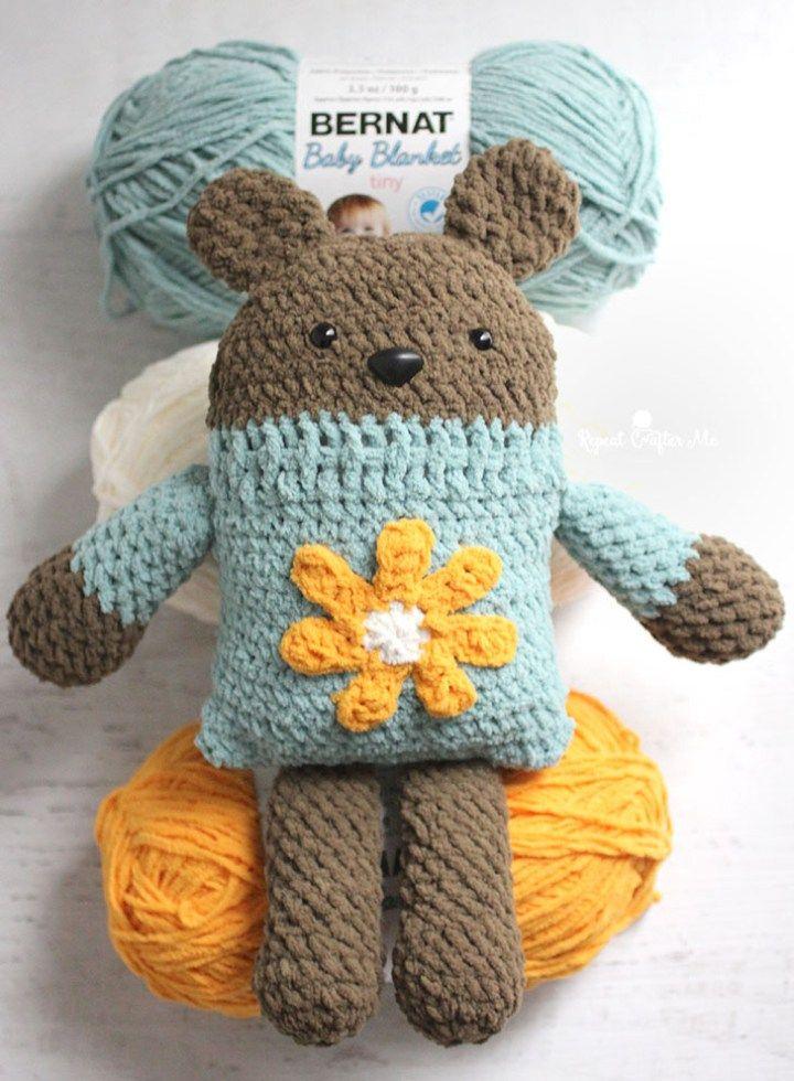 Bernat Crochet Square Bear | Cobijas de bebe, Ropita de bebe y ...