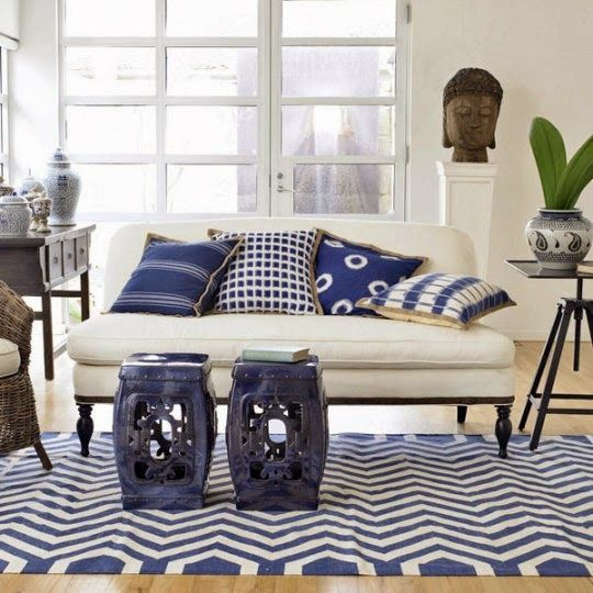 15 Inspirations For Decorating With Garden Stools Blue White