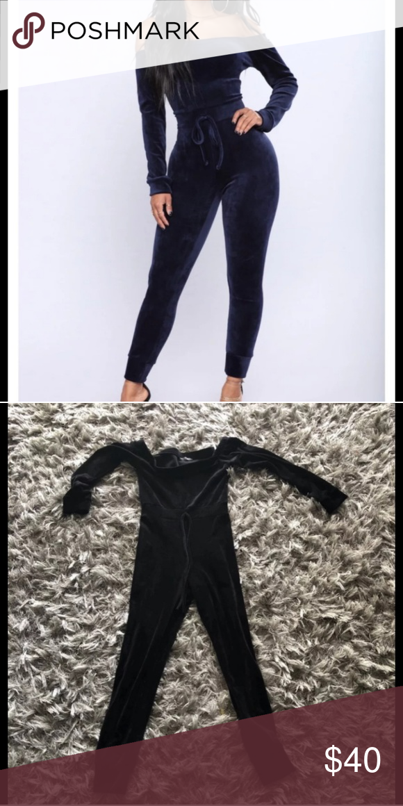 4c4399829d4 Fashion Nova velour jumpsuit Like new and new Size small Color black and  navy blue Soft velour Off ahoulder Fashion Nova Other
