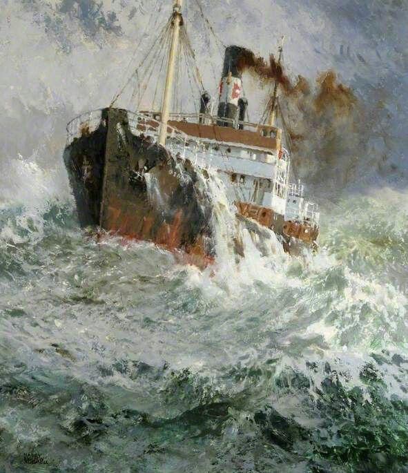 Tramp steamer in heavy sea. Harry Hudson Rodmell http://www.bbc.co.uk/arts/yourpaintings/paintings/tramp-steamer-77813