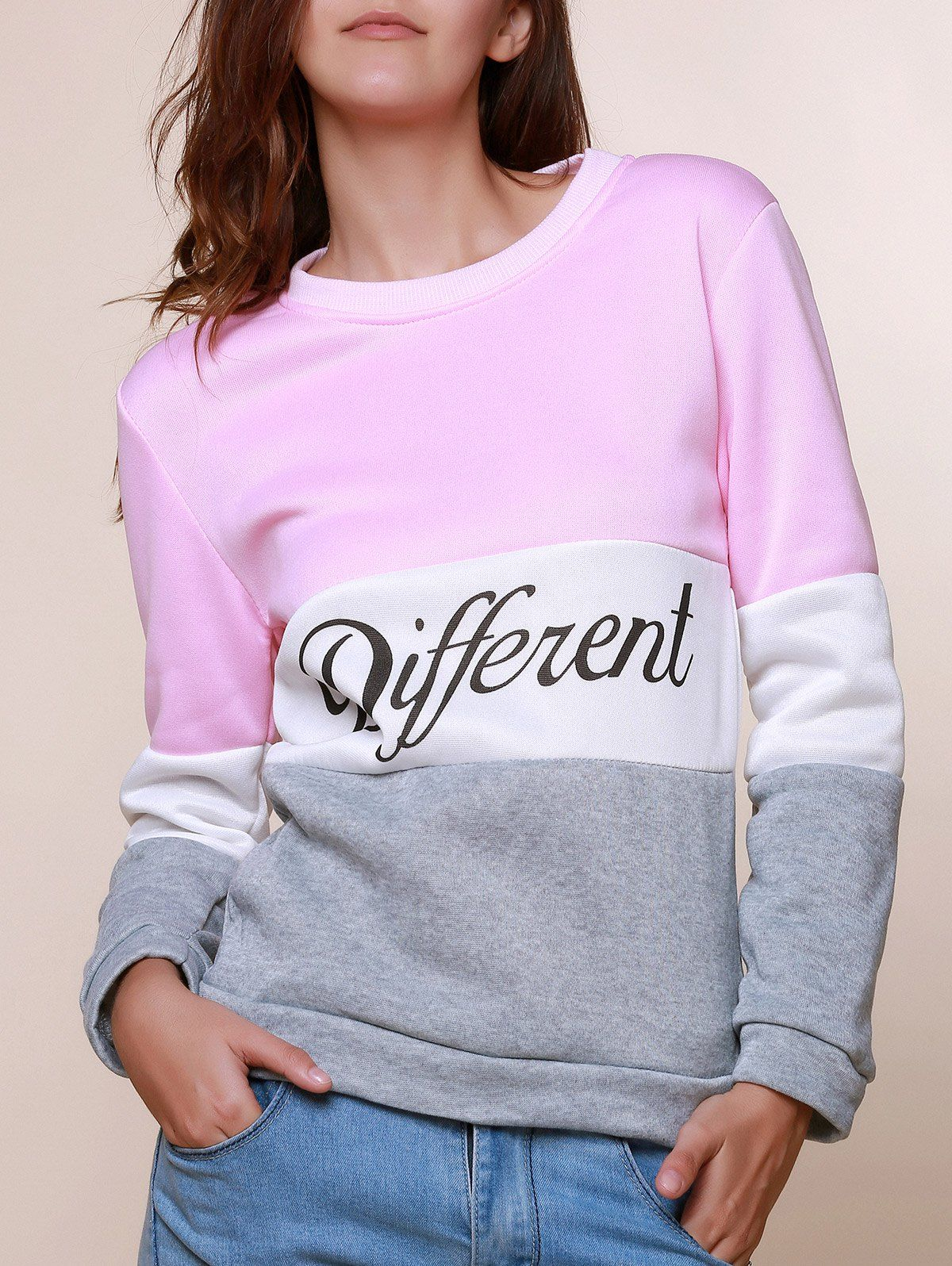 Preppy Style Women\'s Round Neck Color Block Long Sleeve Letter Print ...