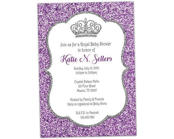 Purple Princess Baby Shower Invitation Royal Baby Shower Etsy Princess Baby Shower Invitation Glitter Baby Shower Invitations Pink Baby Shower Invitations
