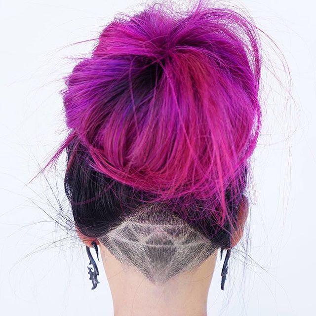 pink hair bun with diamond undercut