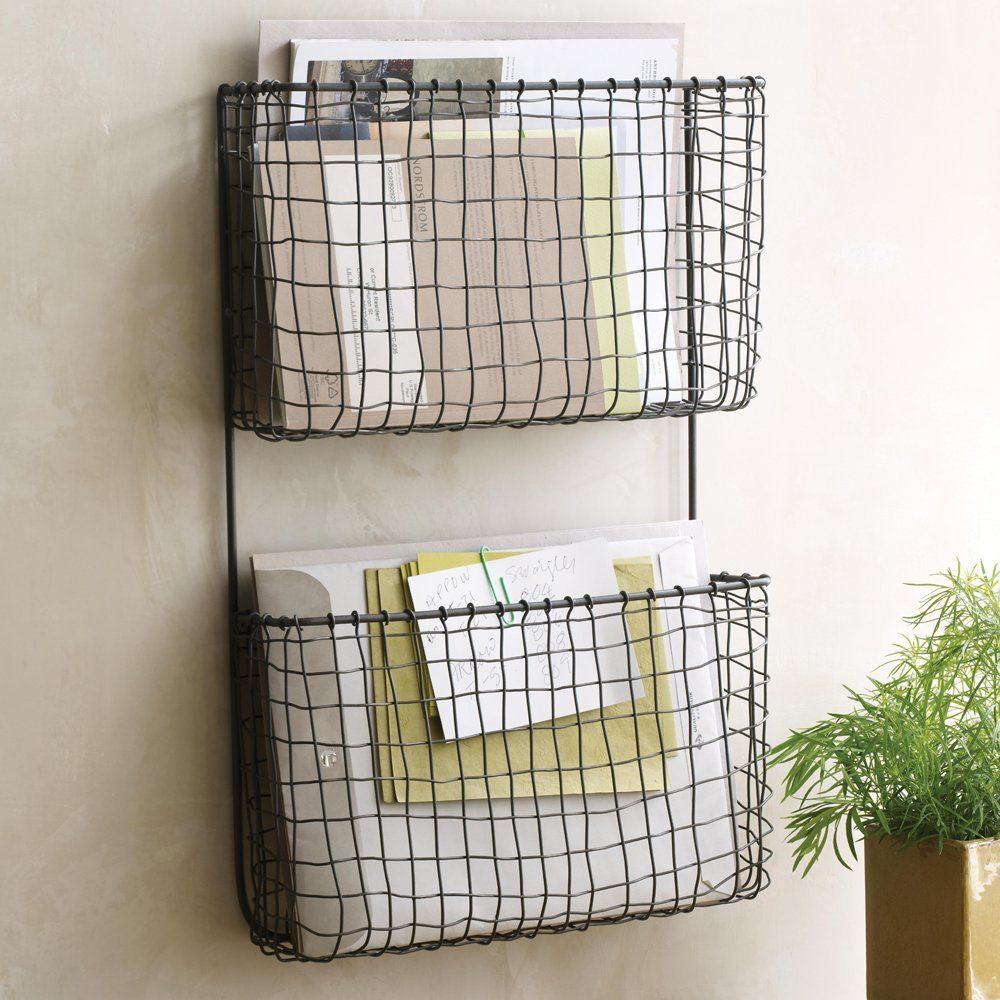 Furniture, Vertical Wire Wall Mounted File Or Mail Organizer With 2 ...