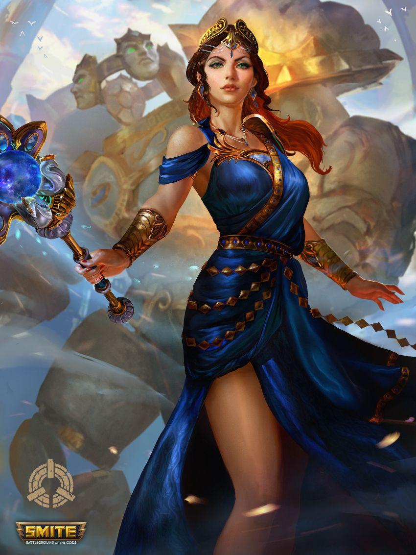 1girl Absurdres Alternate Costume Bird Bracelet Copyright Name Dress Earrings Goddess Golem Gree Greek Mythology Art Fantasy Art Women Greek Gods And Goddesses