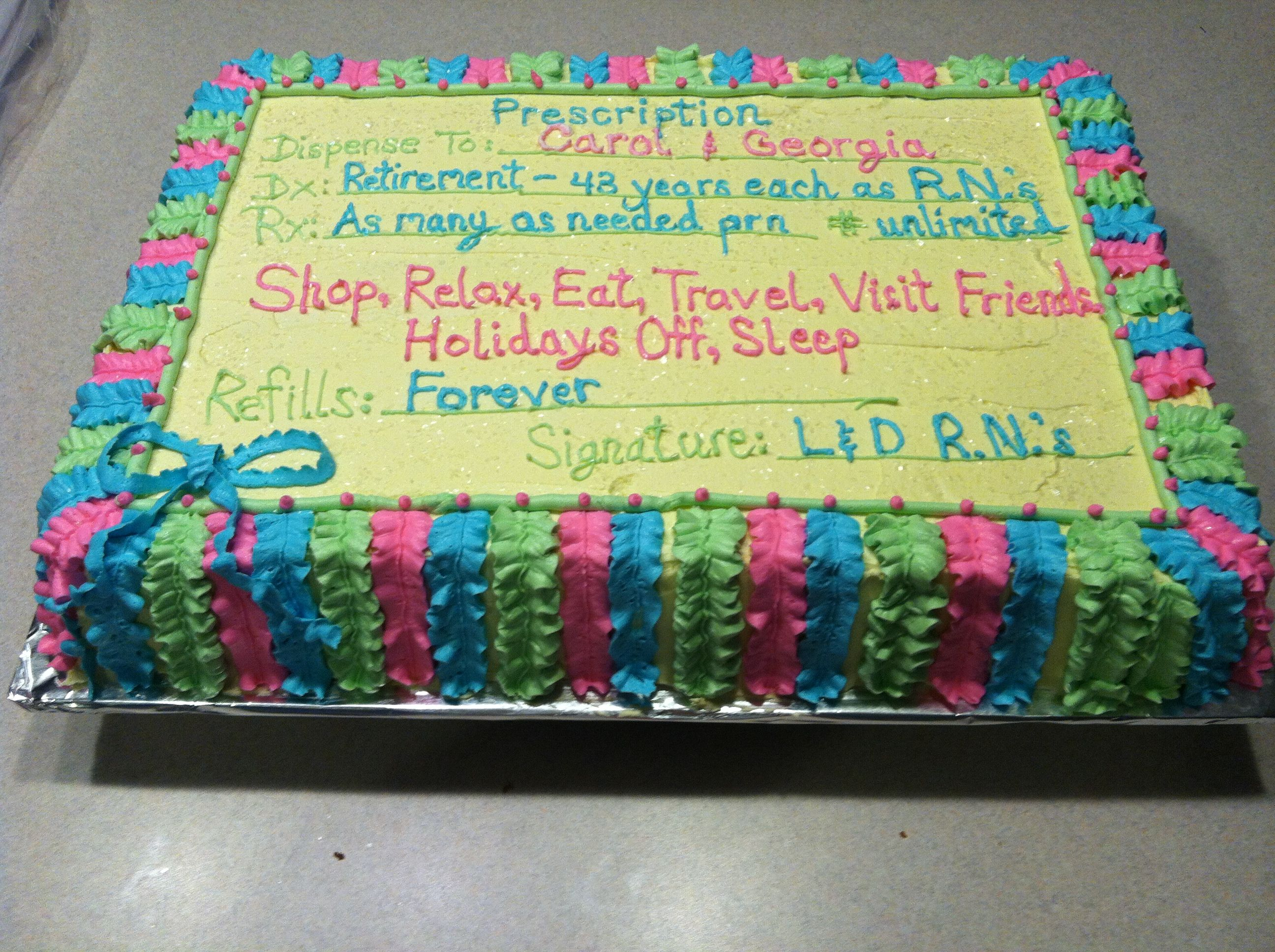 Retirement Cake Idea For Nurses