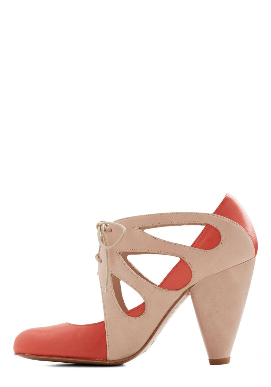 1e424d37f089 Dancing in the Park Heel. You know the secret to a dazzling night life -  bolder is better on the dance floor!  coral  prom  wedding  modcloth