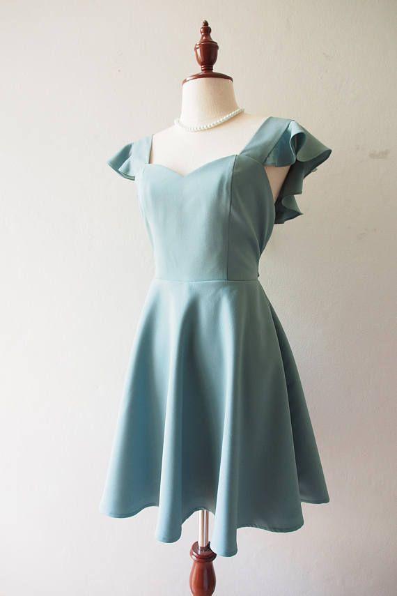 OLIVIA  Sage Green Bridesmaid Dress   Back Zipper  Sage