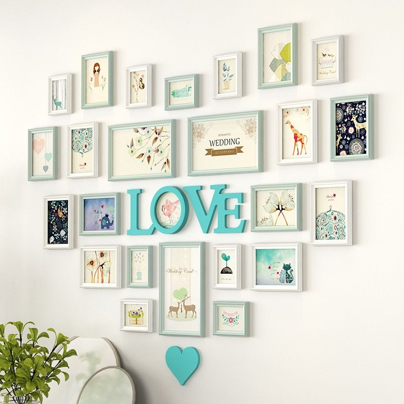 Romantic Heart Shaped Photo Frame Wall Decoration 25pieces Set Wedding Picture Frame Home Decor Bedroom Comb Frame Wall Collage Photo Wall Decor Frames On Wall