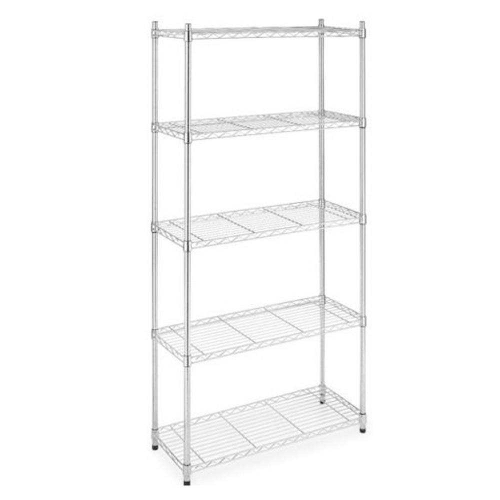 Unbranded Chrome 5 Tier Metal Wire Shelving Unit 14 In W X 72 In H X 36 In D Ws 775 Chrome The Home Depot Whitmor Metal Storage Racks Shelving