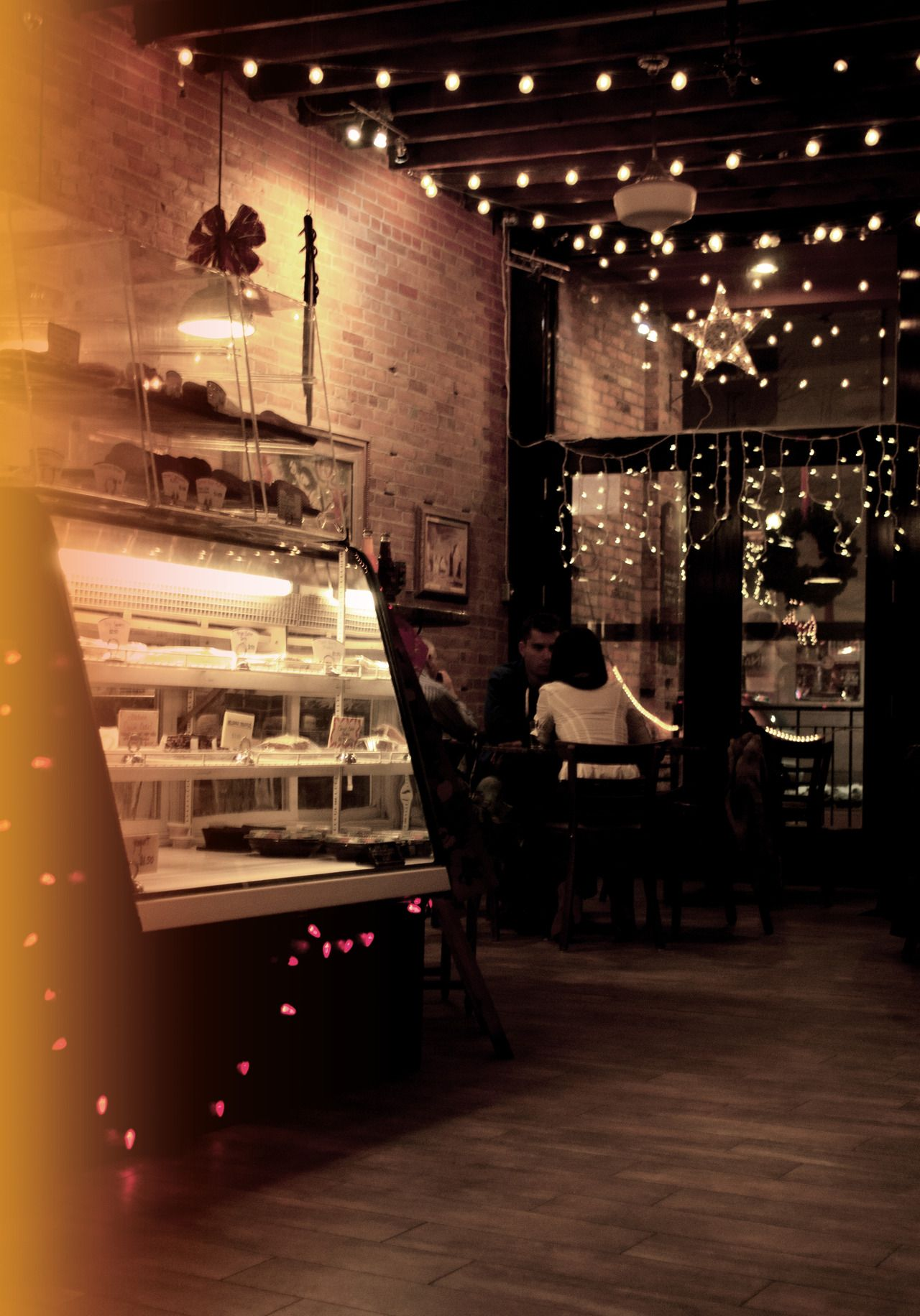 I Love The Lighting And Rustic Feel This Is A Great Way To Transition Your Shop From An Open An Airy Day Spot Rustic Coffee Shop Coffee Shop Decor Coffee Shop