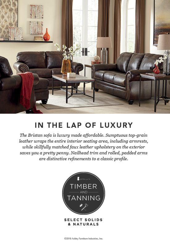 Timber And Tanning Select Solids Naturals Bristan Sofa Leather Wood Furniture Style Ashley Ashleyfurniture