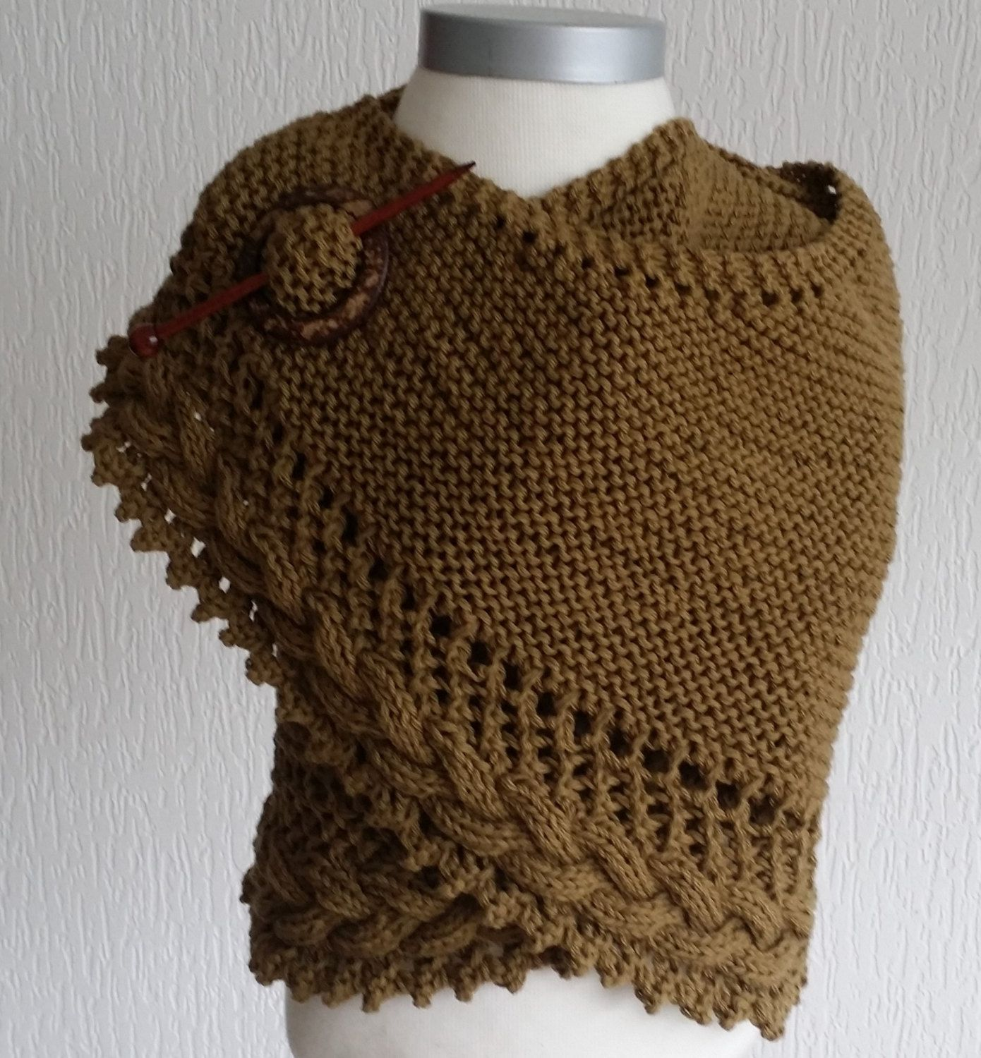Cotton handknitted wrap / shawl / scarf by pinkvalleyNL on Etsy