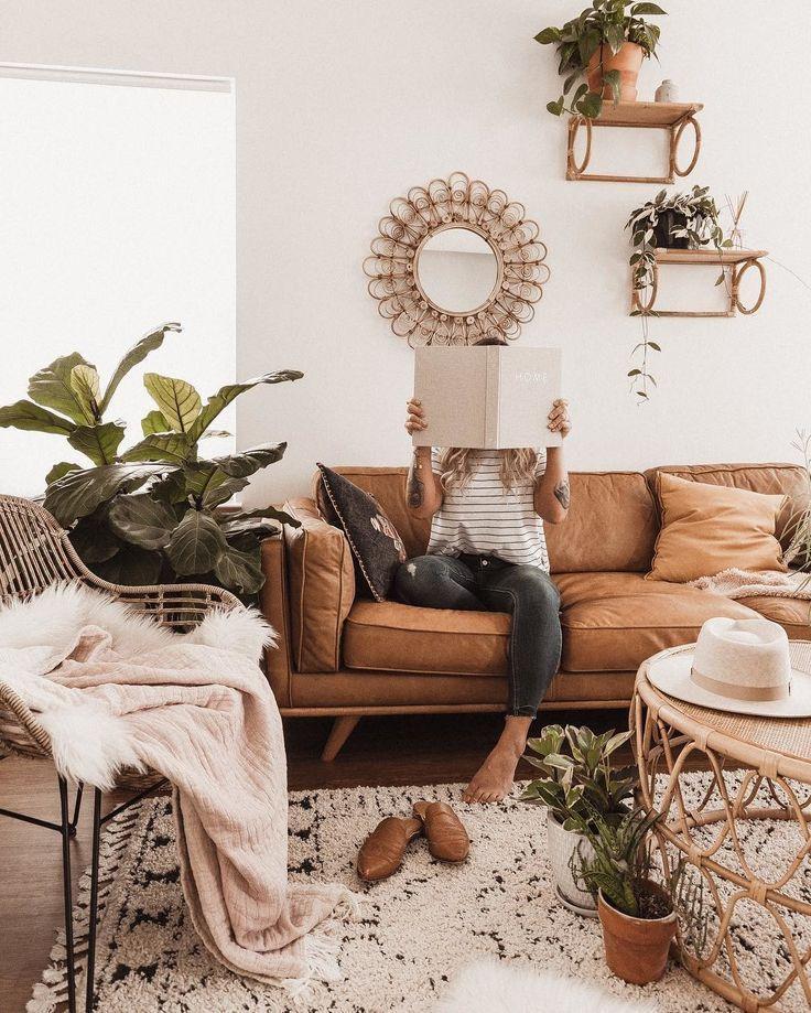 Timber Charme Tan Sofa Boho Living Room Apartment Decor Living