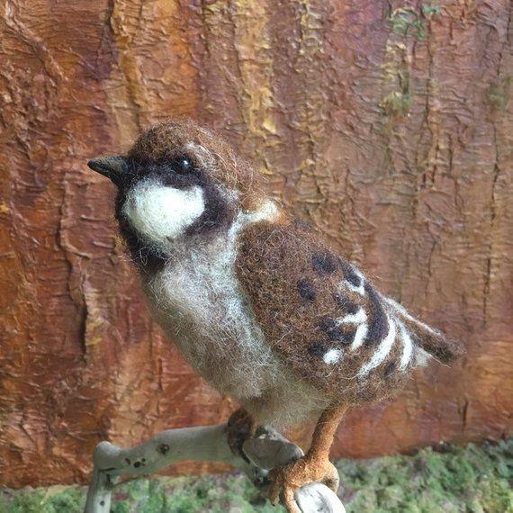 Felt sparrow gift for granddoughter felted wool animal Felt bird ornament Felt wool animal Needle felted animal Girls room decor Terrarium #feltedwoolanimals