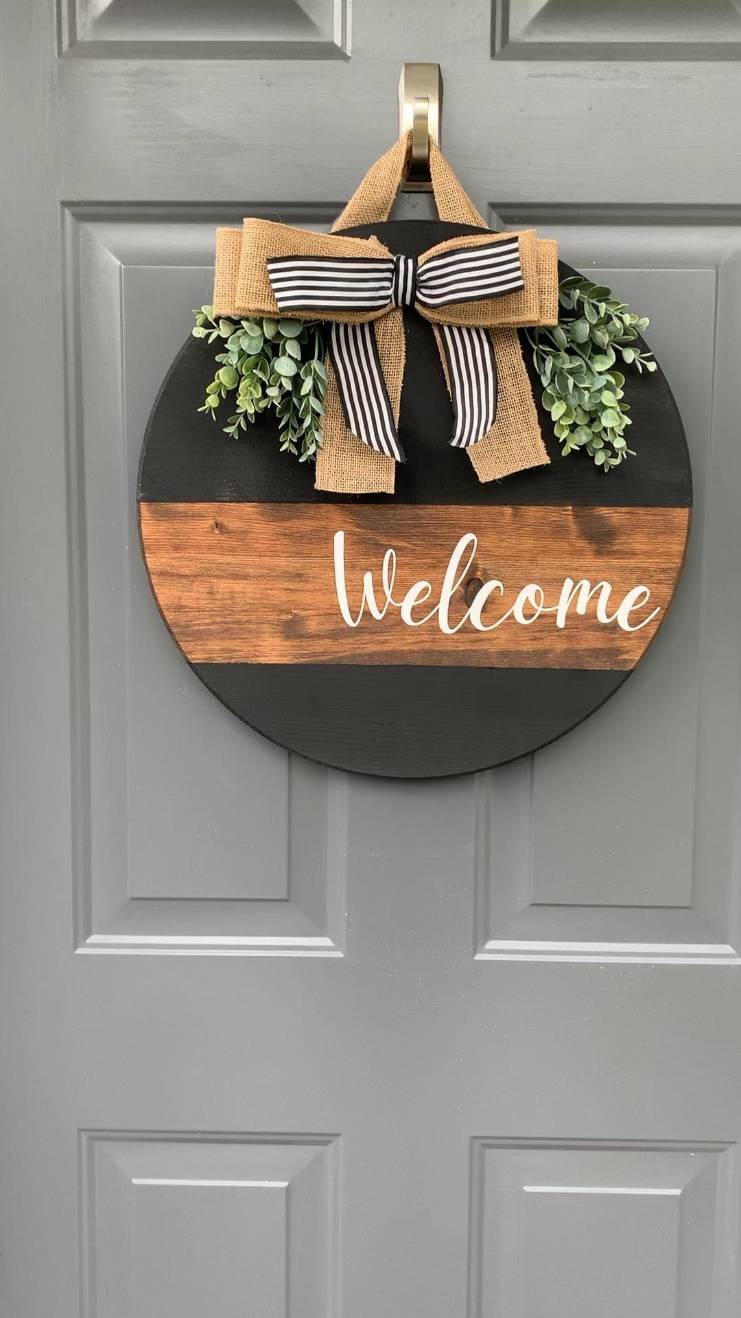 Welcome Door Hanger Customized Sign 18in Wreath We