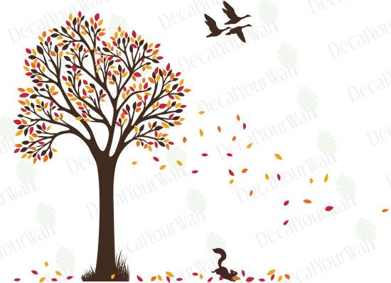 Fall Wall Art tree wall decal nursery decals autumn fall tree with birds large