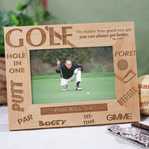 Golfer Personalized Wood Golf Picture Frames. An attractive Engraved ...