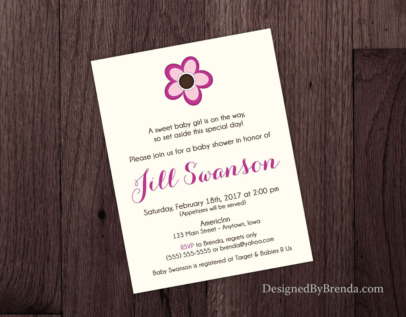 jungle theme baby shower invitation sayings%0A Baby Shower Invitation with Pink Flower  Simple Layout