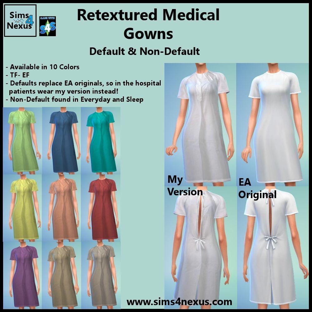 Medical Gown Retexture (F) -Original Content- | Sims 4 Nexus | Sims
