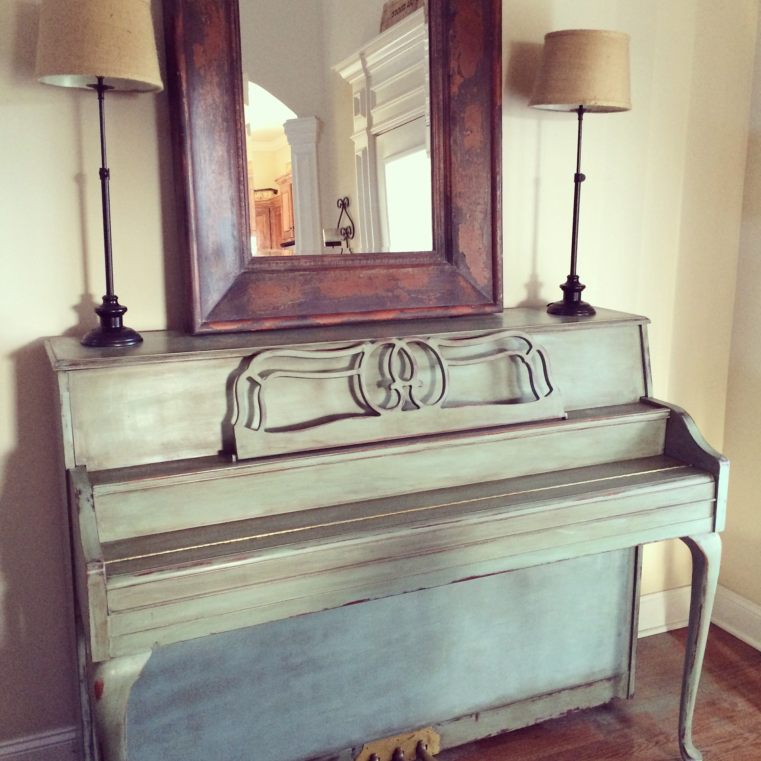 Duck Egg Blue And Dark Wax On Our Piano Completely