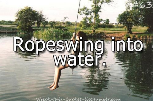 Before I die I want to rope swing into the water.