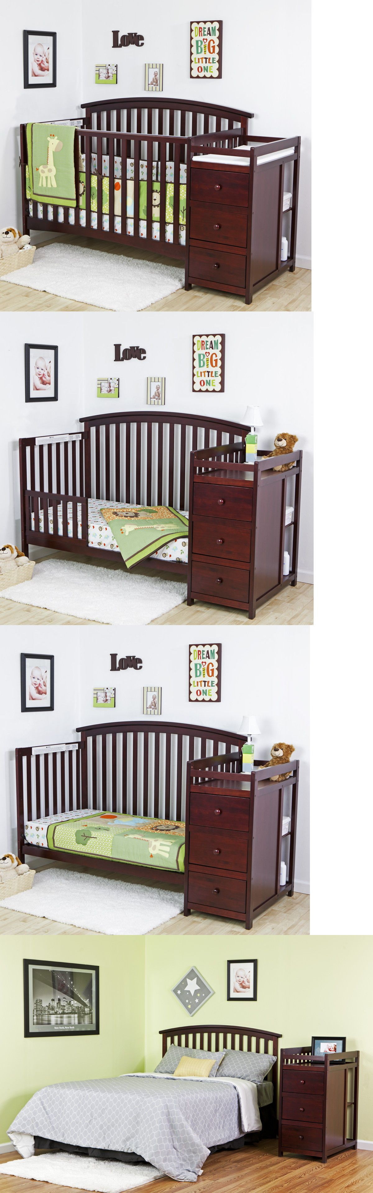 Cribs 2985: 5 In 1 Side Convertible Crib Changer Nursery Furniture ...